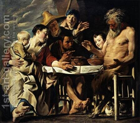 The Satyr And The Peasant by Jacob Jordaens - Reproduction Oil Painting