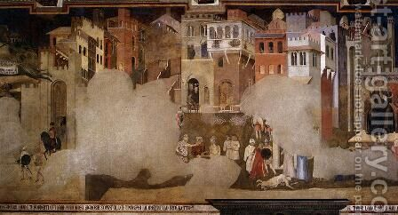 Effects Of Bad Government On The City Life (detail) by Ambrogio Lorenzetti - Reproduction Oil Painting