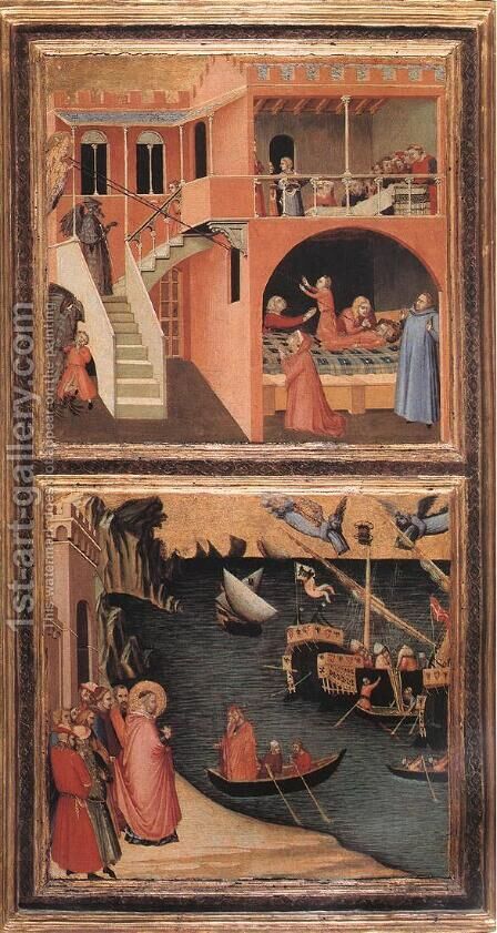 Scenes of the Life of St Nicholas (2)  c. 1332 by Ambrogio Lorenzetti - Reproduction Oil Painting
