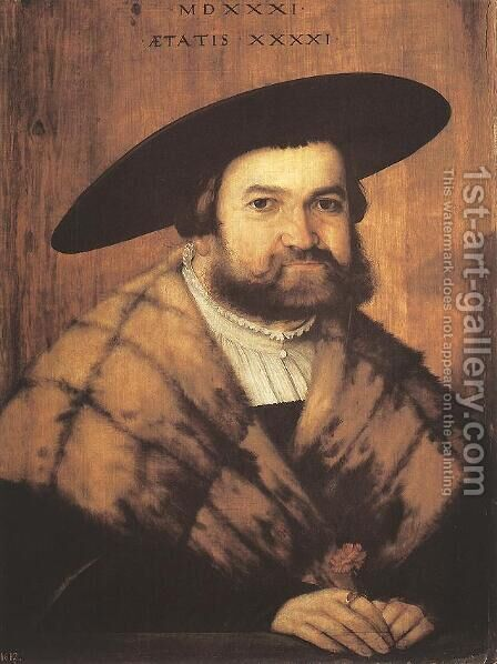 Goldsmith Jörg Zürer Of Augsburg 1531 by Christoph Amberger - Reproduction Oil Painting