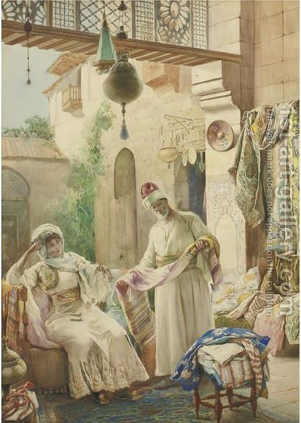 A Seller Of Rugs by Amedeo Momo Simonetti - Reproduction Oil Painting