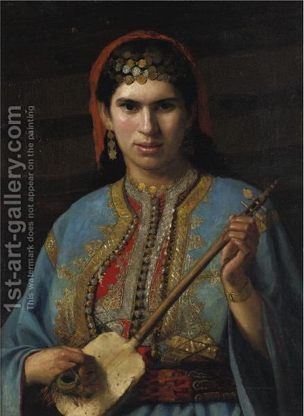 Girl With Mandolin by Henry Leland - Reproduction Oil Painting