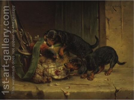 The Day's Trophies by Carl Reichert - Reproduction Oil Painting