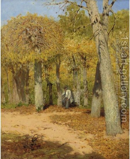 Gentleman Seated In A Park by Continental School - Reproduction Oil Painting