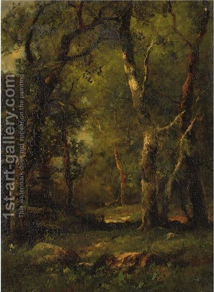 A Sunny Day In The Woods by Charles Linford - Reproduction Oil Painting