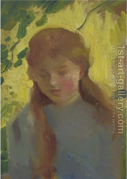 Portrait Of A Young Girl 2 by American School - Reproduction Oil Painting