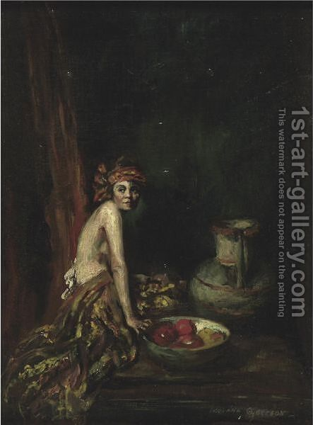 Model With Bowl Of Fruit by Indiana Gyberson - Reproduction Oil Painting