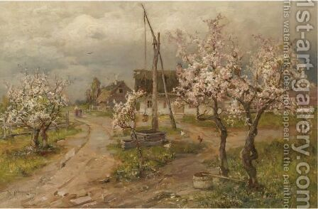 Landscape With Trees In Blossom by (after) Iulii Iul'evich (Julius) Klever - Reproduction Oil Painting