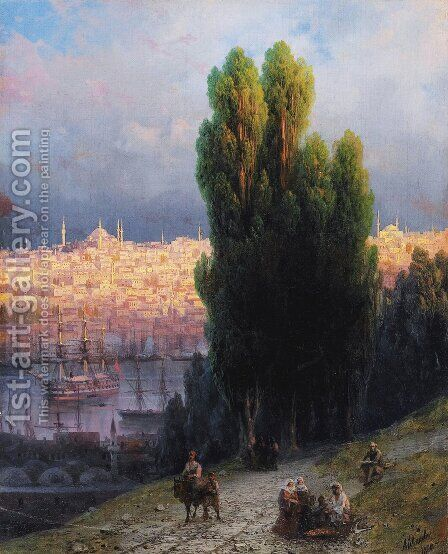 Constantinople, View Of The Golden Horn With A Self-Portrait Of The Artist Sketching by Ivan Konstantinovich Aivazovsky - Reproduction Oil Painting