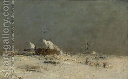 Winter Landscape With Farmhouses Near Matrionovka by Ivan Pavlovich Pokhitonov - Reproduction Oil Painting