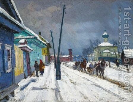 Winter In Pskov by Arnold Borisovich Lakhovsky - Reproduction Oil Painting
