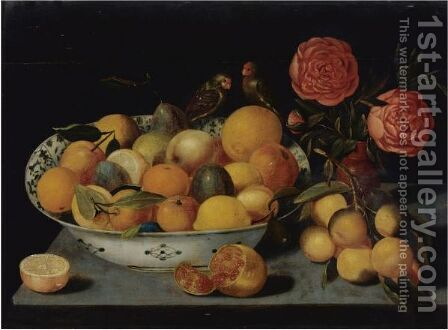 Still Life Of Fruit In A Wanli Kraak Porcelain Bowl Resting On A Table With A Pomegranate by (after) Peter Paul Binoit - Reproduction Oil Painting