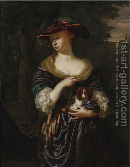 A Woman Holding A Dog In A Landscape by Jan Van Mieris - Reproduction Oil Painting