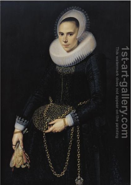Portrait Of A Lady, Aged 24 by Cornelis van der Voort - Reproduction Oil Painting