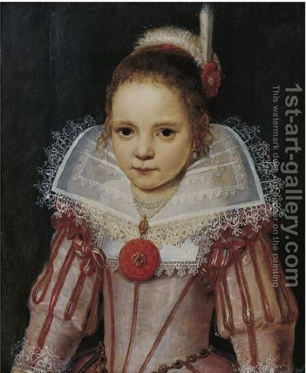 Portrait Of A Young Girl In A Pink Dress With Red Trim by Cornelis De Vos - Reproduction Oil Painting