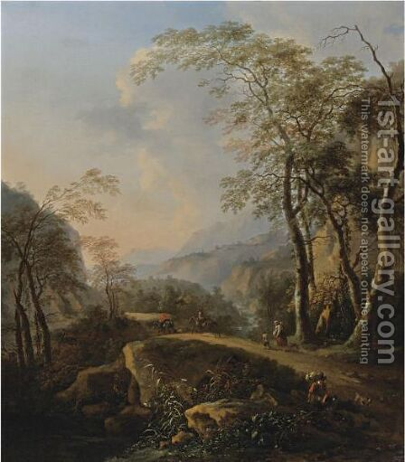 An Italianate Landscape With Horsemen And Peasants On A Path By A Gorge by (after) Nicolaes Berchem - Reproduction Oil Painting