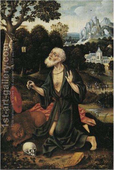 St. Jerome As Penitent by Antwerp School - Reproduction Oil Painting