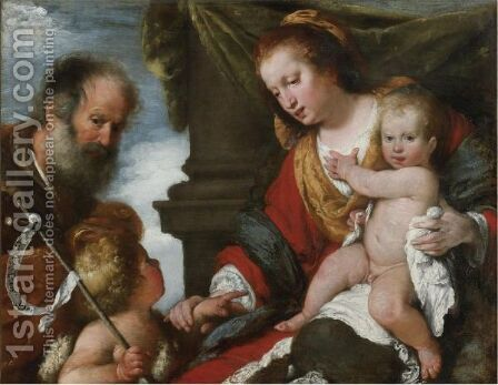 Holy Family With The Infant Baptist by Bernardo Strozzi - Reproduction Oil Painting