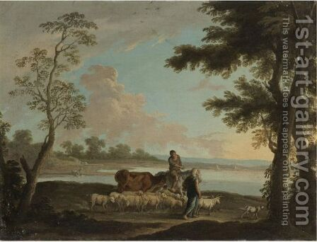 Herders And Animals In A Landscape by (after) Andrea Locatelli - Reproduction Oil Painting