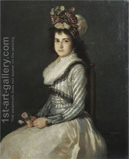 Portrait Of A Young Woman Holding Two Roses by Agustin Esteve Y Marques - Reproduction Oil Painting