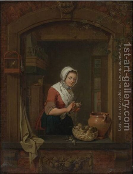 Young Woman At A Window Pealing Radishes by Jacobus Johannes Lauwers - Reproduction Oil Painting