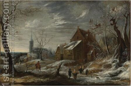 Winter Landscape With Figures And A Town In The Distance by Jan Abrahamsz. Beerstraten - Reproduction Oil Painting