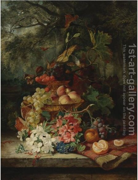 Still Life With Grapes, Cherries, Peaches, And Flowers In A Double-Tiered Gilt Dish, A Carpet And An Orange by (after) Simon Saint-Jean - Reproduction Oil Painting