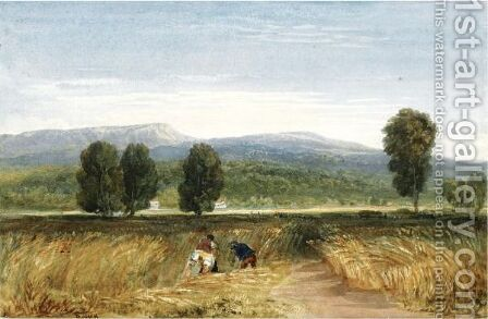 Harvesters In A Welsh Valley by David Cox - Reproduction Oil Painting