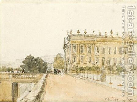 Chatsworth House, Derbyshire by David Cox - Reproduction Oil Painting