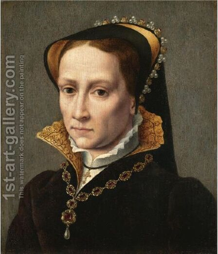 Portrait Of Mary Tudor (1516-1558) by (after) Antonio Mor - Reproduction Oil Painting