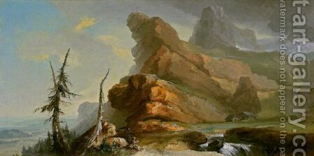 Ideal Mountain Landscape With A View Towards A Rolling Valley by Caspar Wolf - Reproduction Oil Painting