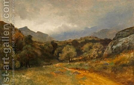 Prairie, Arbres, Chemin Au Pied Des Alpes Meadow, Trees, Path Beneath The Alps by Alexandre Calame - Reproduction Oil Painting