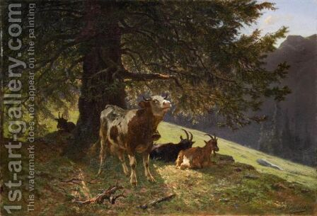 Landscape With A Cow And Goats, 1863 by Charles Humbert - Reproduction Oil Painting
