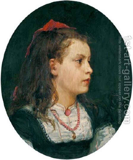 Portrait Of Bethli Oser, 1871 by Albert Anker - Reproduction Oil Painting