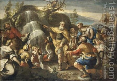 Mose Fa Sgorgare L'Acqua Dalla Roccia by Italian School - Reproduction Oil Painting