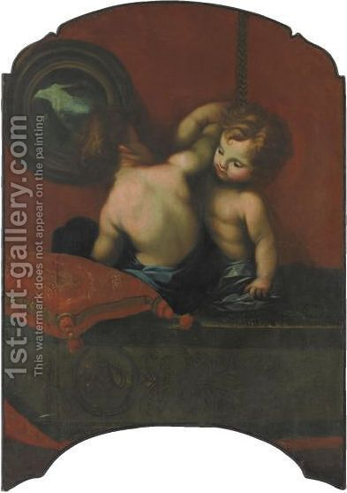 Due Putti Su Un Tappeto Con Un Cuscino E Un Dipinto by (after) Carlo Francesco Nuvolone - Reproduction Oil Painting