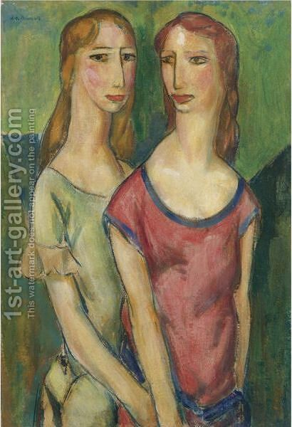 Two Girls Holding Hands by Alfred Henry Maurer - Reproduction Oil Painting