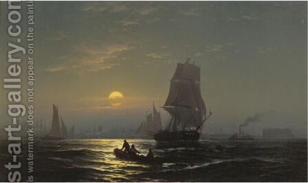 New York Harbor In Moonlight by Edward Moran - Reproduction Oil Painting