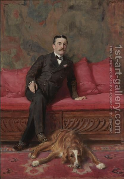Portrait Of A Man And Dog by Ignaz-Marcel Gaugengigl - Reproduction Oil Painting