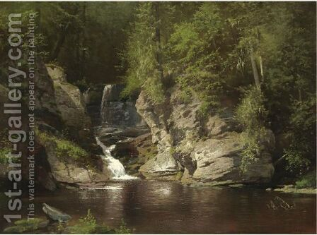Woodland Pool by Herman Herzog - Reproduction Oil Painting