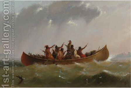 Indian Canoe by Alfred Jacob Miller - Reproduction Oil Painting