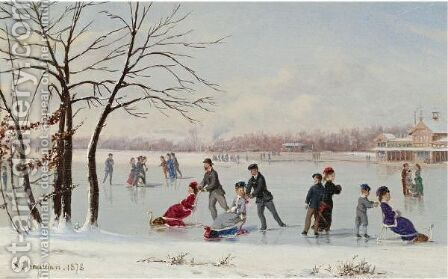 Skating On The Lake by Conrad Wise Chapman - Reproduction Oil Painting