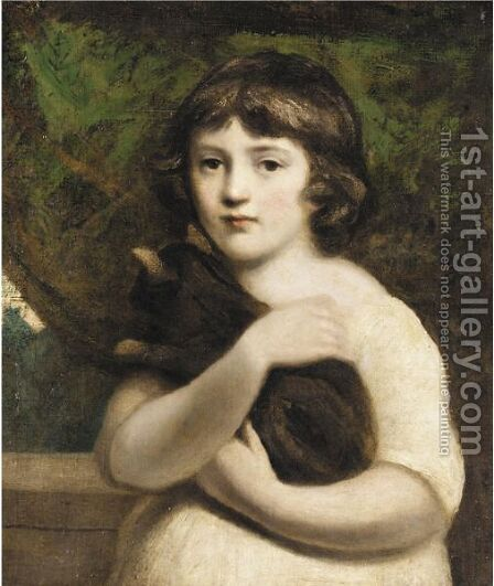 Portrait Of A Young Girlhalf Length, Standing, Wearing A White Dress And Holding A Cat In Her Arms by (after) Hunter, Robert - Reproduction Oil Painting