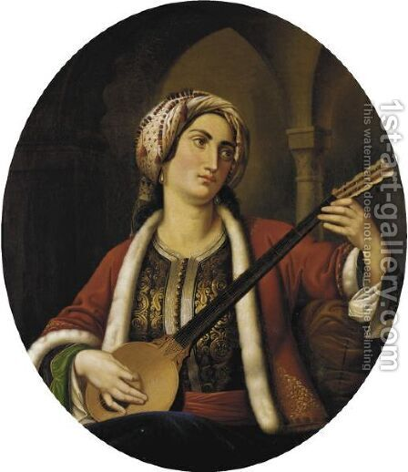 Woman Playing A Mandolin by Italian School - Reproduction Oil Painting