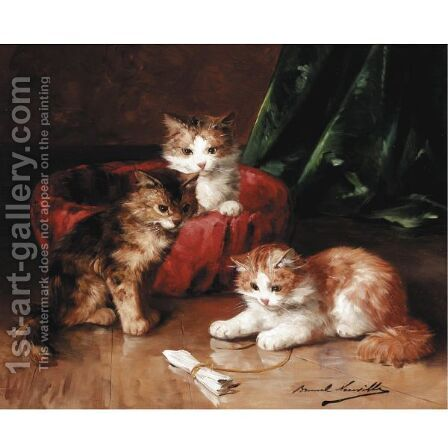Three Young Kittens by Alphonse de Neuville - Reproduction Oil Painting