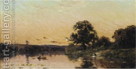 Sunset River Landscapes by Hippolyte Camille Delpy - Reproduction Oil Painting