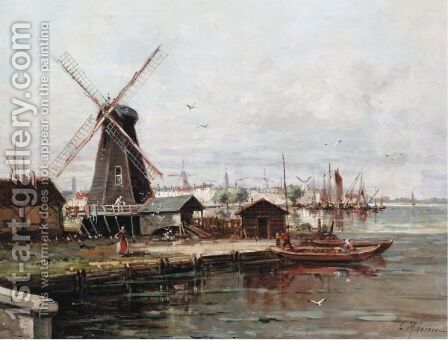 Canal Scene With Windmill by Gustave Mascart - Reproduction Oil Painting