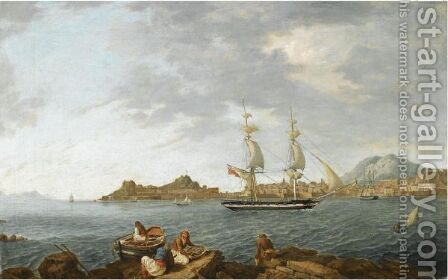 A British East Indiaman And Other Ships Entering Corfu Harbour by Anton the Younger Schranz - Reproduction Oil Painting