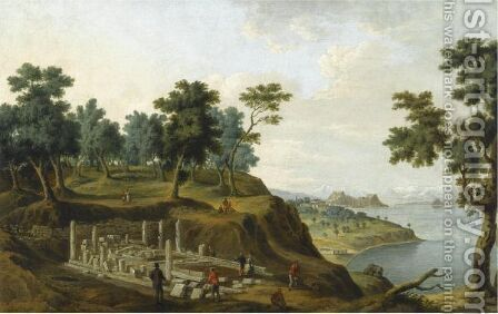 Figures Among The Ruins Of The Temple Of Artemis With The Citadel In The Distance, Corfu by Anton the Younger Schranz - Reproduction Oil Painting