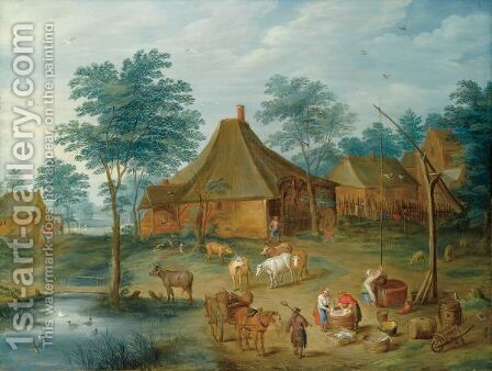 A Farmyard With Peasants Washing Clothes Near A Draw-Well, A Peasant With His Horse-Drawn Cart In The Foreground by (after) Isaak Van Oosten - Reproduction Oil Painting